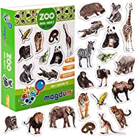 MAGDUM PHOTO ZOO animal magnets for kids -real LARGE fridge magnets for toddlers- Magnetic EDUcational toys baby 3 year old baby LEARNing magnets for kids- Kid magnets Magnetic THEATRE-Magnet set baby