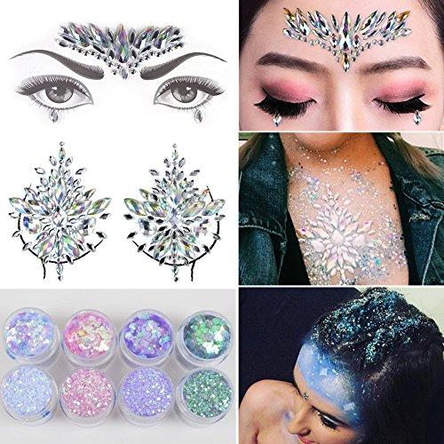 XinGe 3 Blätter Festival Strass Rave Gesicht Brust Juwel Tattoo & 8 Boxen 10ml Chunky Glitter bunte gemischte - Tattoos Juwelen