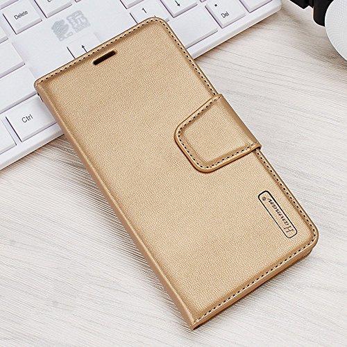 EUDTH Funda Xiaomi MAX 2, Funda Cuero Estuche Libro Suave PU Leather Flip Carcasa Protección con Stand Funció para Xiaomi Mi MAX 2 - Oro