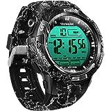 100m Digital Sumergible Impermeable Nadando Reloj de Pulsera con Funciones de Alarma y Cronómetro, Soporte Zona Horaria Dual,