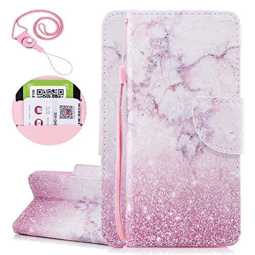 Ledertasche Wallet Case,Standfunktion Card Holder Hüllen,Malerei Muster Flip Lederhülle Brieftasche Etui Schale Mappen für iPhone 7 Plus 8 Plus Handytasche,Niedlich Rosa Panda ()