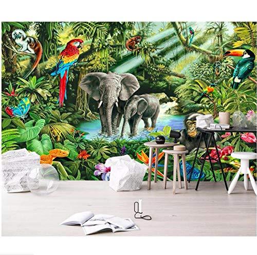 kssim Mural papel tapiz fotográfico 3d Mono elefante pico gigante pájaro niños casa selva murales papel de pared