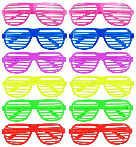 iLoveCos Mode Shutter Shades Brille Gläser Sonnenbrille für Kostüm Party Club Tanz Props 6 Farben, 12 Paar