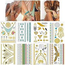 Lezed Tattoo Aufkleber Haut Wasserfest Temporäre Tattoo Metall Goldfolie Flash Kunst Aufklebe Tätowierung Wasserdicht Party Body Art Klebetattoos (8 Blätter)