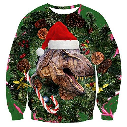 Uideazone Herren Damen Printed Weihnachten Dinosaurier Pullover Sweatshirts Ugly X-mas Shirt Plus Size,Asia XXL= EU XL
