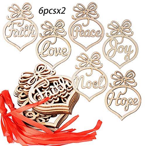 Serwoo 12pz ciondoli pendenti legno natalizi 12pz nastrini decorativi da appendere abbellimenti ornamenti decorazioni per albero di natale fai da te