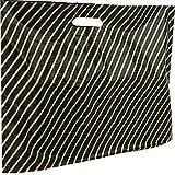 100Grande Taille Noir et Or en plastique Sacs en polyéthylène à rayures–Taille 55,9x 45,7x 10,2cm Patch Poignée Shopping Boutique Cadeau Parti Fancy