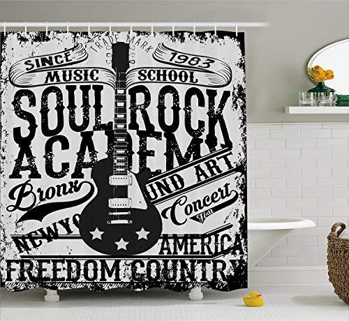 HYJDZKJY Cortina de Ducha Retro Soul Rock Academy Theme Escuela de música Guitarra eléctrica Freedom Poster Like Cloth Image Baño...