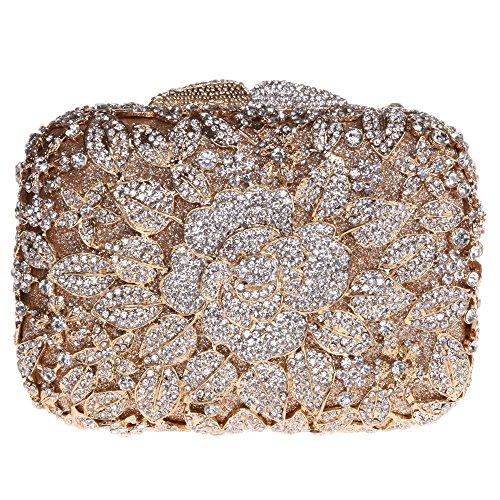 Santimon Donee Clutch Peonia Fiore Strass Diamante Cristallo Clutch Da Festa di Nozze Sera Con Tracolla Amovibile 7 Colori oro
