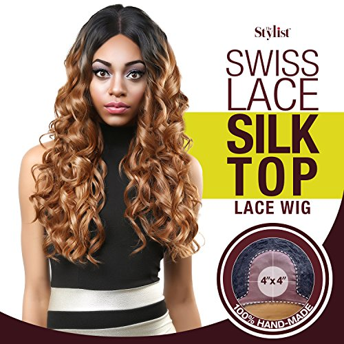 Perücken Seide Top (Das Stylisten Synthetische Spitze vorne Perücke Swiss Lace Seide Top curl-a-licious)
