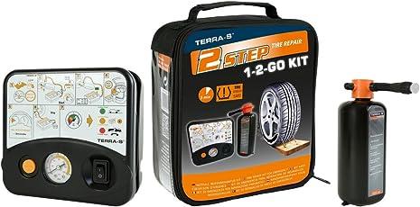 """TERRA-S Reifenpannenset """"1-2-GO"""" mit 450ml Dichtmittel - schwarze Tasche"""