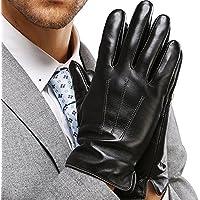HARRMS Herren Winter Warme Handschuhe Fäustlinge aus Leder Touch Screen Gefüttert mit Fütterung Lederhandschuhe Für Fahren Motorrad Radfahren, Schwarz/Braun