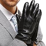 HARRMS Herren Winter Handschuhe Echt Leder Touchscreen Gefüttert mit Fütterung Lederhandschuhe Für Fahren Motorrad Radfahren, Schwarz,XX-Large