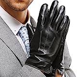 Harrms Herren Winter Handschuhe Echt Leder Touchscreen Gefüttert mit Kaschmir Lederhandschuhe, Schwarz M (mit Geschenk Verpackung)