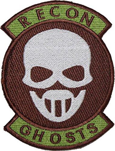 TOM CLANCY 'S GHOST RECON weiß Maske mit Rocker Badge bestickt Patch 12,7cm Aufnäher oder zum Aufbügeln (Recon Maske)