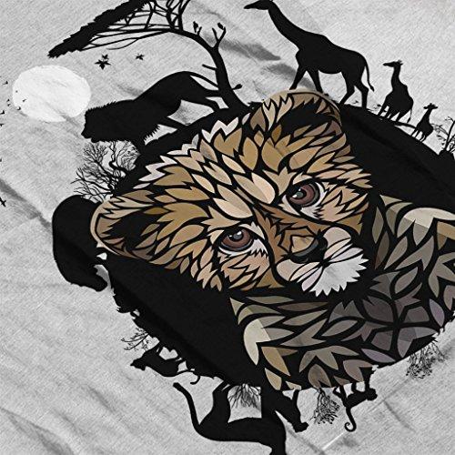 Circle Of Wildlife Trial Gepard Women's Hooded Sweatshirt Heather Grey