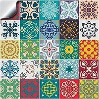 24x Color de la mezcla Lámina impresa 2d PEGATINAS lisas para pegar sobre azulejos cuadrados de 15cm en cocina, baños – resistentes al agua y aceite, Azulejos decorativos adhesivos