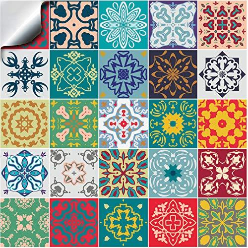 24x Color de la mezcla Lámina impresa 2d PEGATINAS lisas para pegar sobre azulejos cuadrados de 15cm en cocina, baños - resistentes al agua y aceite, Azulejos decorativos adhesivos