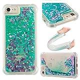 E-Mandala Apple iPhone 6 6S 7 8 Hülle Glitzer Flüssig Liquid Handyhülle Schutzhülle Transparent mit Muster Durchsichtig Tasche Silikon - Grünes Herz