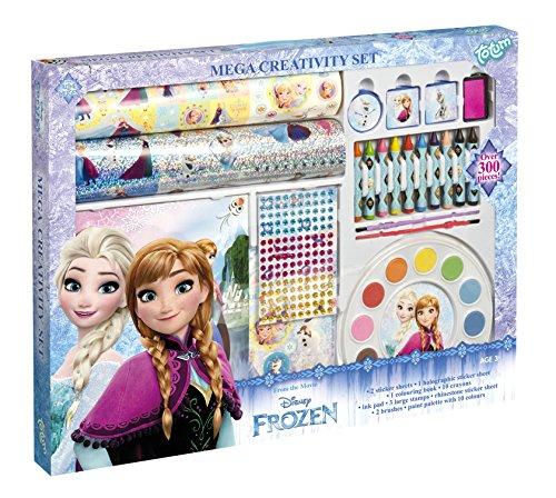 TM Essentials Frozen XXL Kreativ-Set, mit Ausmalbuch, Buntstiften, Stempeln, Stickern (auch 3D und Glitzer), Malfarben und klebenden Strass-Steinen, Geschenk für ()