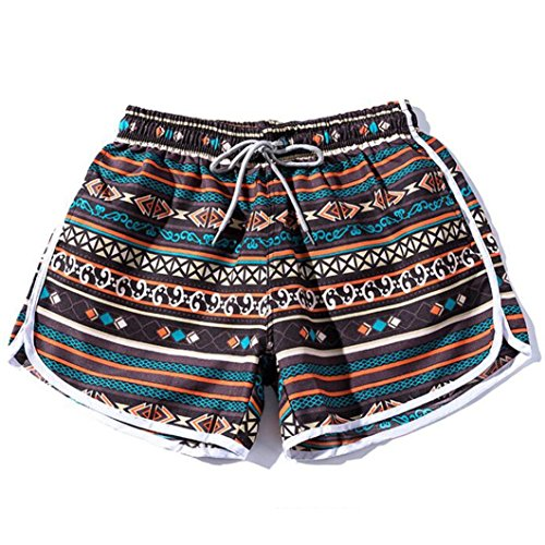 ESAILQ Shorts Women Men Couples Beach Floral Bohe Swim Nickel Pants Plus Size