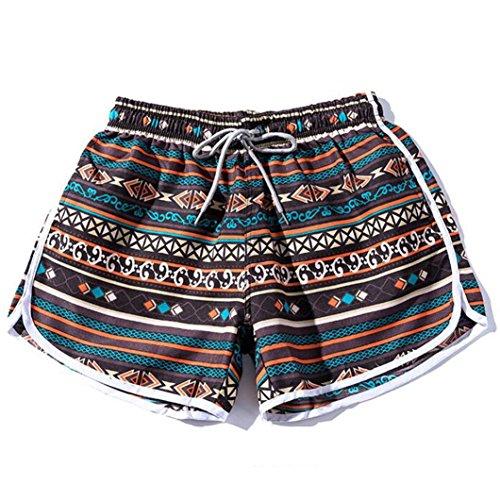 ESAILQ Shorts Women Men Couples Beach Floral Bohe Swim Nickel Pants Plus Size