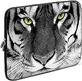 Sidorenko Tablet PC Tasche für 10-10.1 Zoll | Universal Tablet Schutzhülle | Hülle Sleeve Case Etui aus Neopren, Grau/Weiß