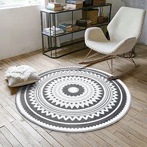 Creative Light- Ländliches Wohnzimmer Bereich Teppiche Runde Geometrisches Muster Schlafzimmer Bereich Teppiche Weiche rutschfeste Teetisch Computer Stuhl Matten ( Farbe : #1 , größe : 60 )
