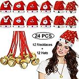 24 Piezas Sombrero de Navidad Santa Monigote de Nieve Reno Gorro de Santa Claus y Jingle Bell Collares para Adulto Niños Feliz Navidad Accesorios de Disfraces de Fiesta de Carnaval