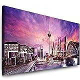 Julia-Art Leinwandbilder 80 mal 30 cm Panorama Bild Köln Stadt Skyline - Wandbild fertig gerahmt - Kunstdruck XXL Leinwand - verschiedene Varianten Kö-01-1