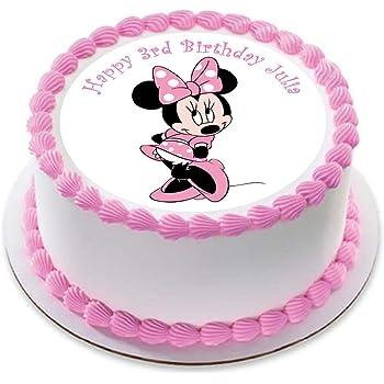 Pinkfarbener Minnie Maus Kuchentopper Aus Esspapier 19 5 Cm