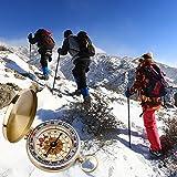 ARINO Taschenkompass Wasserdichter Messingkompass Klassischer Marschkompass Sprungdeckel mit Leuchtziffern für Camping Marsch Outdoor - 2