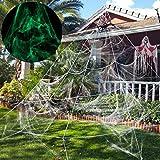 Unomor Halloween Deko Halloween Spinnennetz Dekoration Leuchten im Dunkeln, Halloween Dekoration für draussen, Garten, Hof - 23X19ft, Weiß