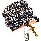 y-blue in pelle e corda braccialetto unisex Cool moda punk multistrato polsino Lettering e croce