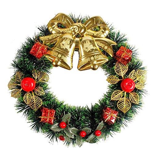 OHQ Weihnachten Kranz deko, Künstliche Garland für Weihnachtsfeier DIY Dekoration, Fenster Tür Bowknot Ornament für Heim Yard Indoor Outdoor Tischdekoration
