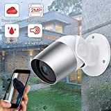 Surveillance Camera WiFi Sdeter 1080P Outdoor IP Camera Bullet WiFi Camera Waterproof Home Security CCTV Caméra Night Vision Two Way Audio P2P Cloud WiFi Argent