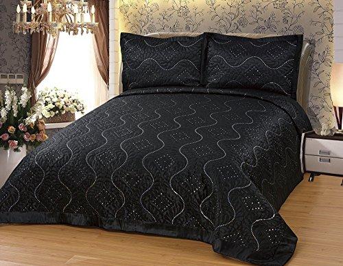 Dematex Satin-Bettüberwurf Set diamant-schwarz Tagesdecke Set mit Kissenbezügen für 2 Personen