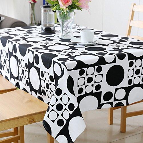 Tabgw Nappe rectangulaire salle à manger jardin hotel café restaurant capot table cloth imperméable cercle noir 140x240cm Accessoires pour la maison