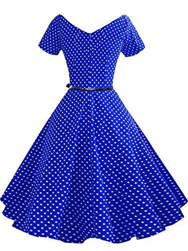 LUOUSE 40s 50s 60s Vintage V-Ausschnitt Schwingen Rockabilly Pinup Ballkleid Partei Kleid V091-DotBlue