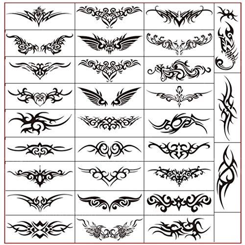 Männliche Kostüm Es Machen Sich Sie - FACAILE Schwarzes Einfaches Muster Tattoo Aufkleber Wasserdicht Männlich Arm Handgelenk Taille Hals Ring Tattoo Aufkleber 30 Blatt Tattoo Aufkleber