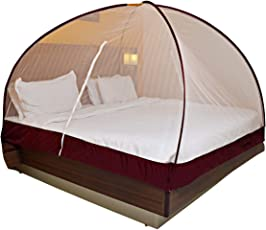 OnlineTree Double Bed Foldable Mosquito Net(Peach)(Size:6 * 6)