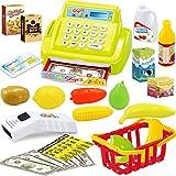 MAJOZ Elektronische Supermarktkasse, Registrierkasse mit Lebensmitteln für Kinder (Grün)