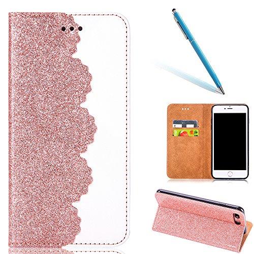 iPhone 8Plus Handytasche, Schön Diamant CLTPY iPhone 7Plus Ledertasche Folio Brieftasche im Bookstyle, Metall Magnetic Closure Etui für Apple iPhone 7Plus/8Plus + 1 x Stift - Schwarz 3 Gold 4