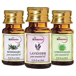 StBotanica Lavender + Lemongrass + Rosemary Pure Essential Oils (10ml Each)