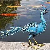 Exotic blau Pfau Vogel Deko Garten Skulptur Statue Ornament groß 74cm