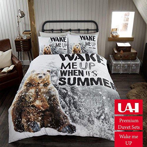 Babbo albero di natale con renna pupazzo trapunta set copripiumino letto, wake me up, doppio