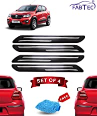 Fabtec Rubber Car Bumper Protector Guard with Double Chrome Strip for Car 4Pcs - Black (Renault Kwid)