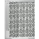 InterDesign Damask Duschvorhang | hochwertiger Duschvorhang mit Ösen aus Metall| Designer Duschvorhang in der Größe 183,0 cm x 183,0 cm | Polyester grau