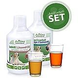 AniForte Barf-Öl Set 2 mit je 500ml Leinöl und Lachsöl – Naturprodukt für Hunde und Katzen, Ohne Zusätze, 100% rein