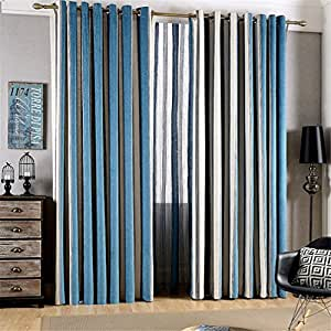 ferand streifen chenille vorhang blickdichte vorh nge mit sen blau wei 127 x 213 cm bxh. Black Bedroom Furniture Sets. Home Design Ideas